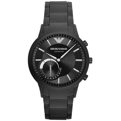 Picture of Emporio Armani Renato Black-Tone Steel Hybrid Smartwatch