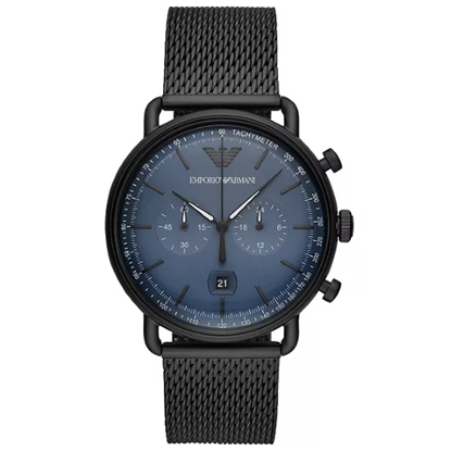 Picture of Emporio Armani Aviator Black Stainless Steel Mesh Watch