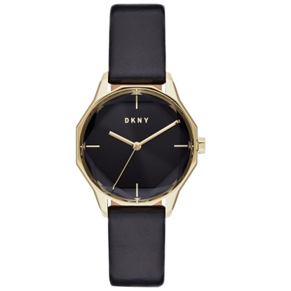 Picture of DKNY Round Cityspire Black Leather Watch