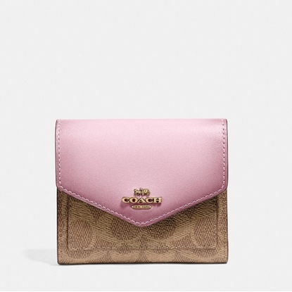 Picture of Coach Signature Small Wallet - Tan/Blossom/Brass