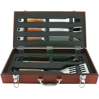 Picture of Mr. Bar-B-Q 5-Piece Tool Set with Genuine Hardwood Case