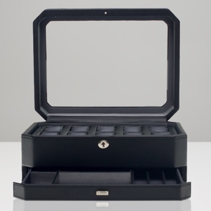 Picture of Wolf Windsor 10-Piece Watch Box with Drawer - Black