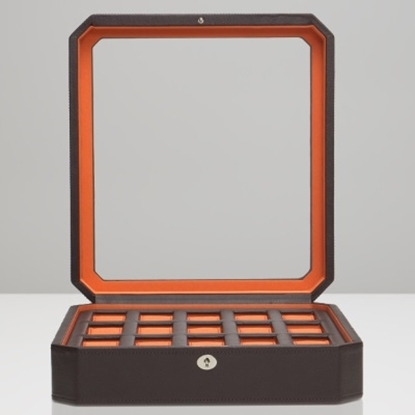 Picture of Wolf Windsor 15-Piece Watch Box - Brown/Orange