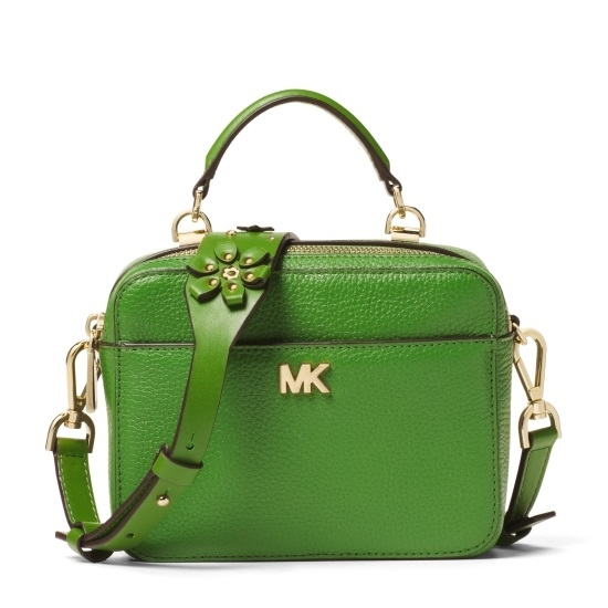 Picture of Michael Kors Mini Guitar Strap Crossbody - TrueGreen 3D Flower