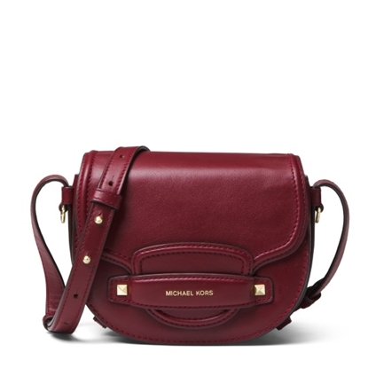 Picture of Michael Kors Cary Small Saddle Crossbody - Oxblood