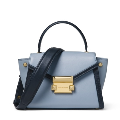 Picture of Michael Kors Whitney Mini Messenger - Pale Blue/Admiral