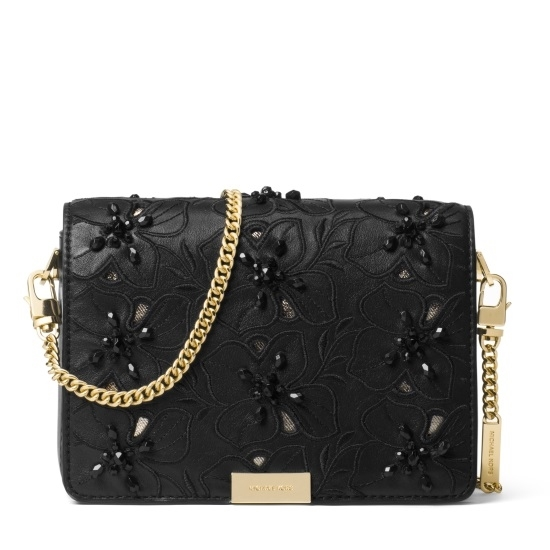 Picture of Michael Kors Jade Gusset Clutch - Black Embroidered Garden