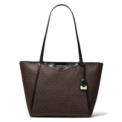 Picture of Michael Kors Whitney Signature Large Top-Zip Tote- Brown/Black