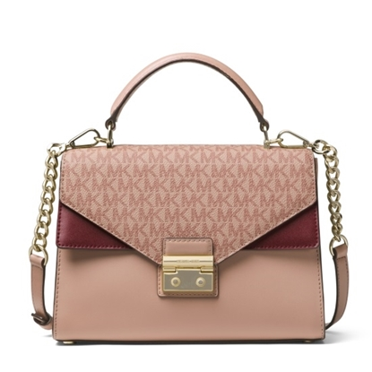 Picture of Michael Kors Sloan Signature Double Flap Satchel- Fawn/Oxblood