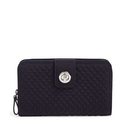 Picture of Vera Bradley Iconic RFID Turnlock Wallet - Classic Navy