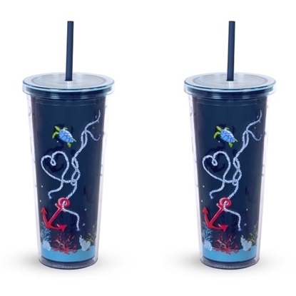 Picture of Vera Bradley Double Walled Tumblers - Shore Thing