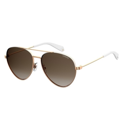 Picture of Polaroid Aviator Sunglasses - White/Brown Gradient