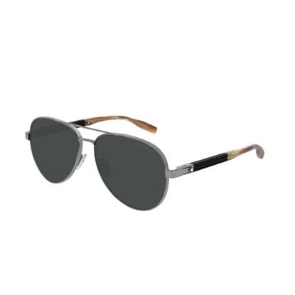 Picture of Montblanc Monsieur Godron Rubber Sunglasses - Ruthenium/Green