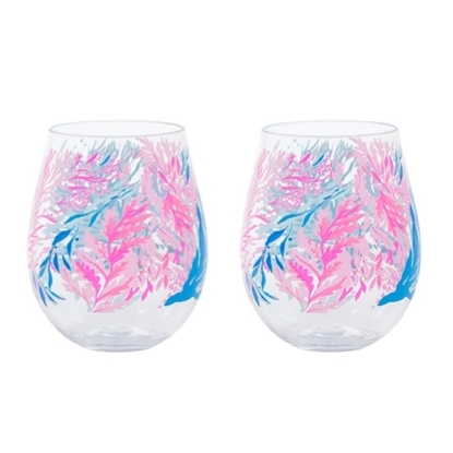 Picture of Lilly Pulitzer Acrylic Wine Glass Set - Kaleidoscope Coral