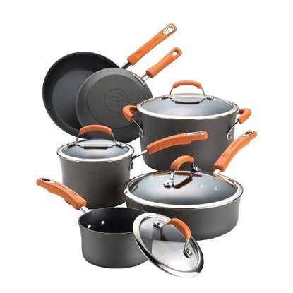 Picture of Rachael Ray Hard Anodized 10PC Cookware Set w/ Orange Handle
