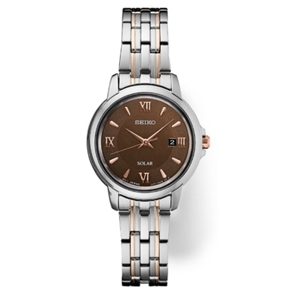 Picture of Seiko Ladies' Essentials Two-Tone Watch with Brown Dial