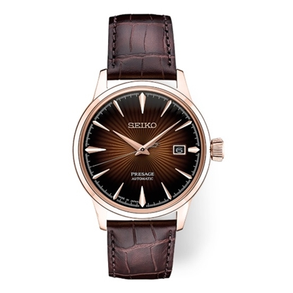Picture of Seiko Men's Presage Automatic Leather Watch with Brown Dial