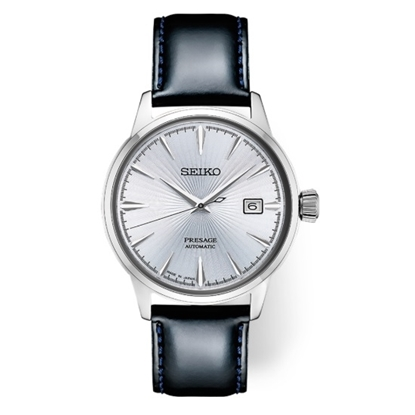Picture of Seiko Men's Presage Automatic Leather Watch with Silver Dial