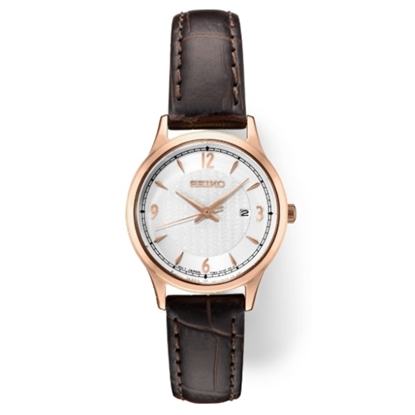 Picture of Seiko Ladies' Essentials Leather Watch w/ Rose Gold-Tone Case