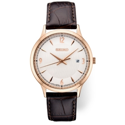 Picture of Seiko Essentials Brown Leather Watch with Rose Gold-Tone Case