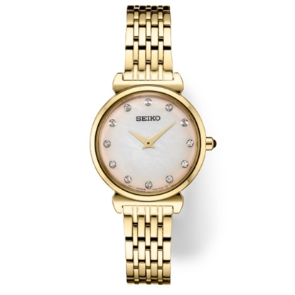 Picture of Seiko Essentials Gold-Tone Watch with Pink MOP Dial & Crystals