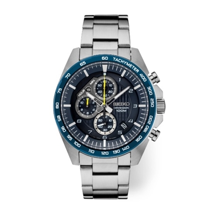 Picture of Seiko Essentials Chrono Stainless Steel Watch with Blue Dial