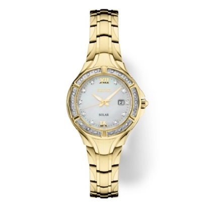 Picture of Seiko Ladies' Diamonds Gold-Tone Watch w/ Mother-of-Pearl Dial