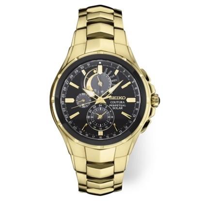 Picture of Seiko Men's Coutura Chrono Gold-Tone Watch with Black Dial