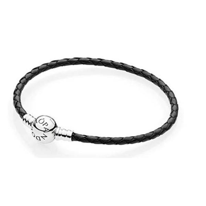 Picture of Black Single Braided Leather Bracelet - Small