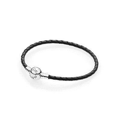 Picture of Black Single Braided Leather Bracelet - Large