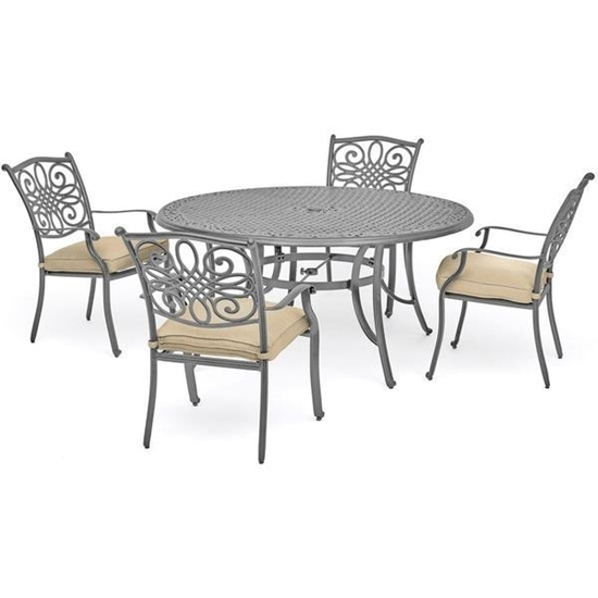 "Picture of Traditions 5-Piece Dining Set with 4 Chairs and 48"" Round Table - Gray Finish"