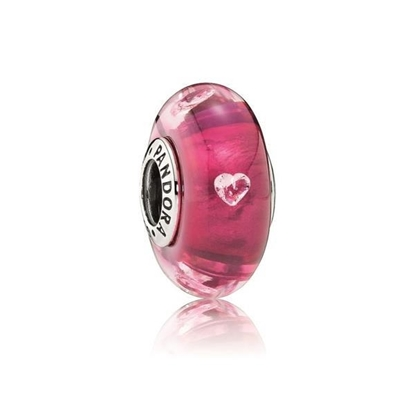Picture of Cerise Heart Glass Charm