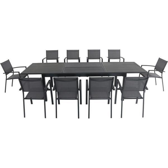 "Picture of Dawson 11-Piece Dining Set with 10 Sling Chairs and an Expandable 40"" x 118"" Table"