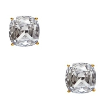 Picture of Kate Spade Small Square Stud Earrings - Clear/Gold