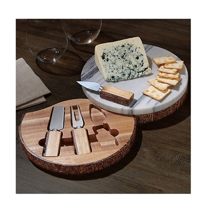 Picture of Wine Enthusiast® Marble Live Edge Wood Cheese Board