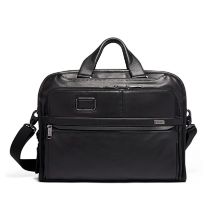 Picture of Tumi Alpha 3 Leather Organizer Portfolio Brief - Black