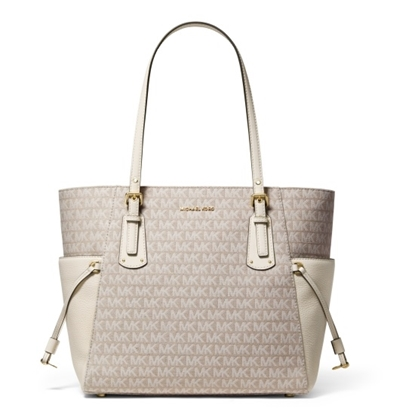 Picture of Michael Kors Voyager Signature E/W Tote - Natural/Light Cream