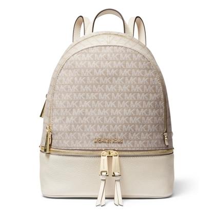 Picture of Michael Kors Rhea Zip Signature M Backpack - Natural/Lt. Cream