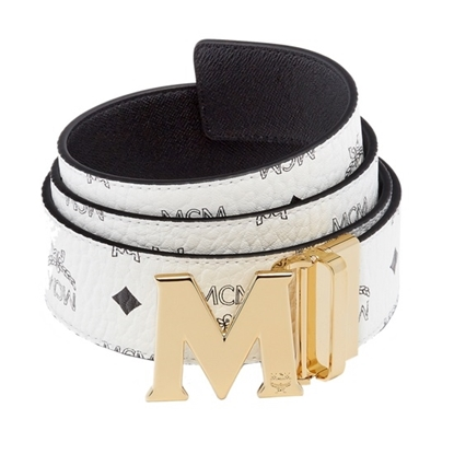 Picture of MCM Claus Reversible Gold Buckle Belt - White