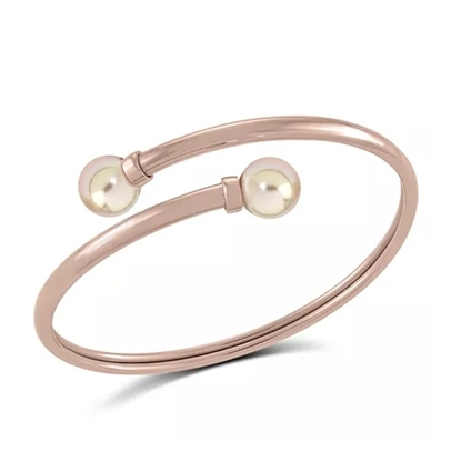 Picture of Majorica 9mm White Pearl Rose Gold-Tone Bangle