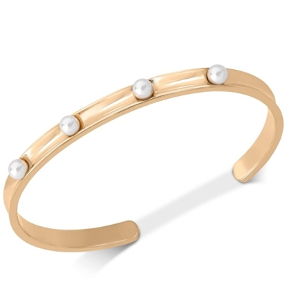 Picture of Majorica 4mm White Pearl Gold-Tone Cuff Bangle
