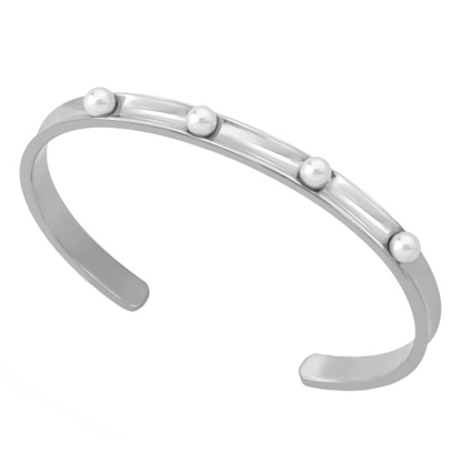 Picture of Majorica 4mm White Pearl Silver-Tone Cuff Bangle