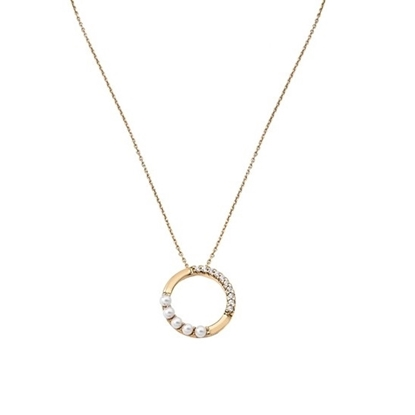 Picture of Majorica 4mm White Pearl Ring Gold-Plated Pendant Necklace