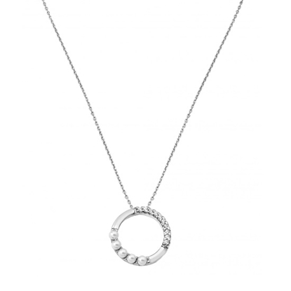 Picture of Majorica 4mm White Pearl Ring Silver Pendant Necklace