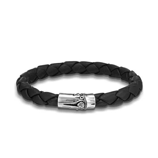 Picture of John Hardy Men's Bamboo Silver Bracelet on Black Woven Leather