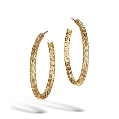 Picture of John Hardy Classic Chain 18K Gold Medium Hoop Earrings