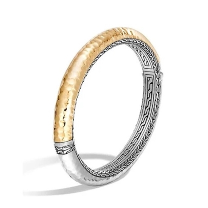 Picture of John Hardy Classic Chain Gold & Silver Oval Hinged Bangle