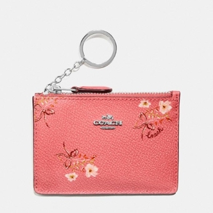 Picture of Coach Mini ID Skinny - Bright Coral Floral/Silver