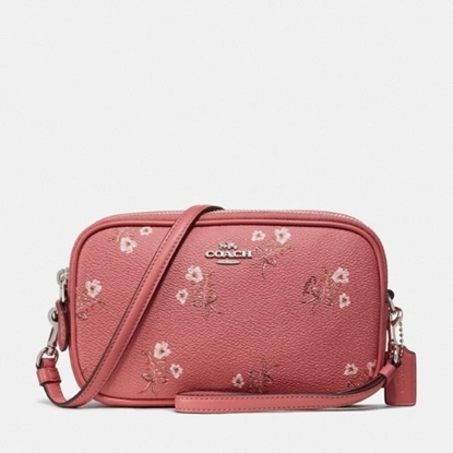 Picture of Coach Sadie Crossbody - Bright Coral Floral Bow/Silver