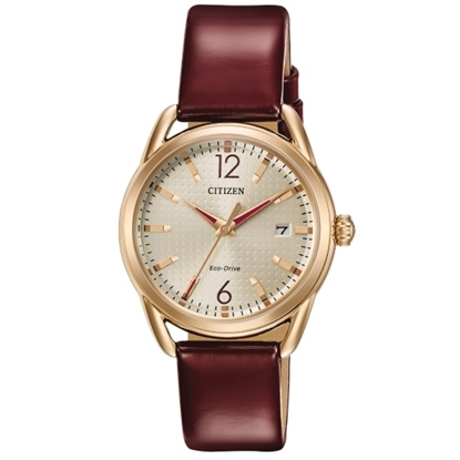 Picture of Citizen LTR Watch with Burgundy Strap & Rose Gold-Tone Case